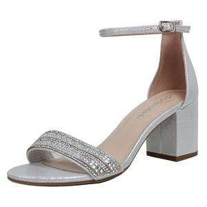 Silver Shimmer Open Toe Ankle Strap Dress Sandal